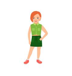 Happy redhead girl in green suit vector