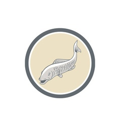 Trout Swimming Cartoon Circle vector image