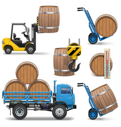 Barrels shipping icons vector