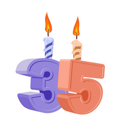 35 years birthday number with festive candle for vector