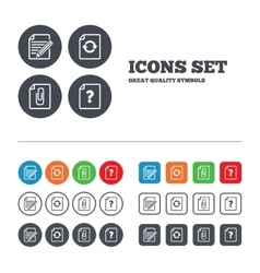 File edit icons question help signs vector