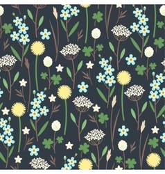 Meadow flowers seamless pattern vector