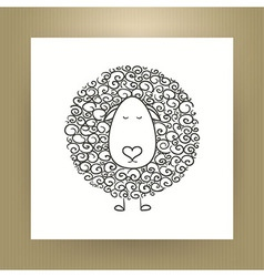 Hand drawn outline sheep isolated over white paper vector
