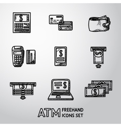 Set of freehand atm icons with - atm cards vector