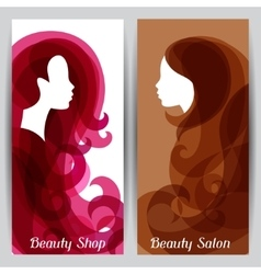 Woman silhouette with curly hair on banners for vector
