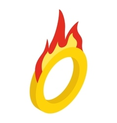 Circus ring with fire isometric 3d icon vector