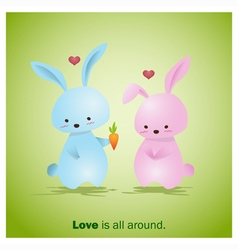 Cute animals collection love is all around 2 vector