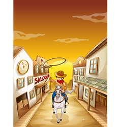 A young boy riding in a horse with a rope vector image vector image