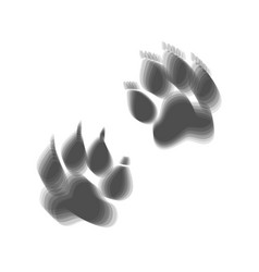 Animal tracks sign gray icon shaked at vector
