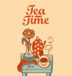 banner on tea theme with inscription tea time vector image vector image