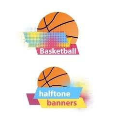 Basketball halftone banners vector image vector image