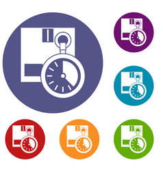 cardboard box with stopwatch icons set vector image vector image