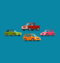 Cars set of icons vehicle automobile garage vector