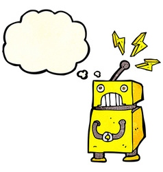 Cartoon little robot with thought bubble vector