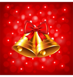 Christmas bells on red background vector image vector image