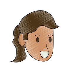 Color pencil side view face executive woman vector