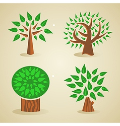 Colorful green tree set vector image vector image