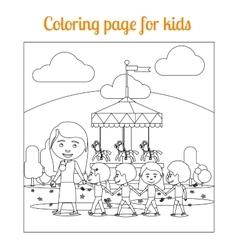 Coloring page for kids amusement park vector