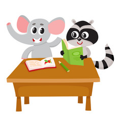 Cute elephant and raccoon student characters vector