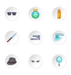 Detective icons set cartoon style vector
