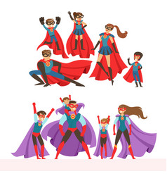 Family of superheroes set smiling parents and vector