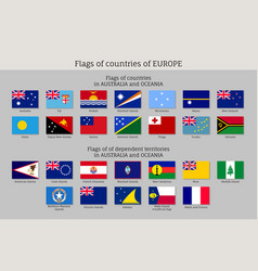 Flags australia and oceania flat style big set vector