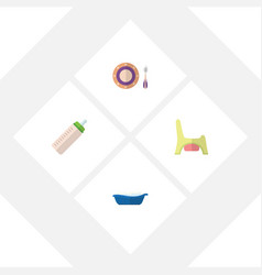 Flat child set of feeder bathtub baby plate and vector