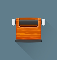 Flat coffee barista knock box icon vector