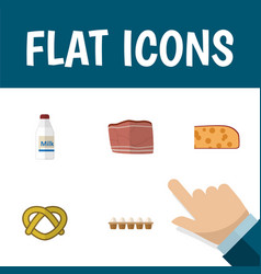 Flat icon eating set of cookie eggshell box vector