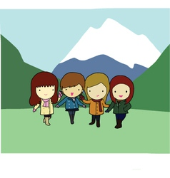 Four cheerful girls with mountain in background vector image