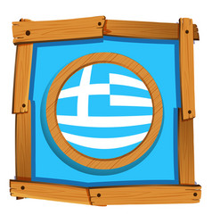Greece flag on round button vector