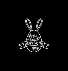 Happy easter egg with ribbon bunny ears line icon vector