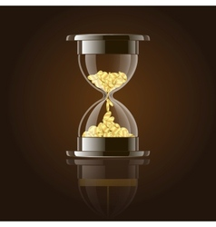 Hourglass with gold coins over dark background vector image
