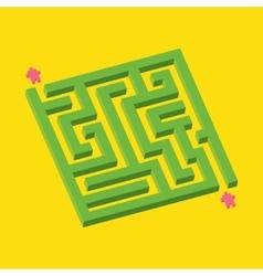 Isometric green maze in pixel art style vector
