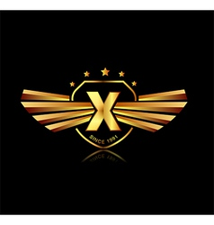 Letter X winged crests logo Alphabet logotype vector image