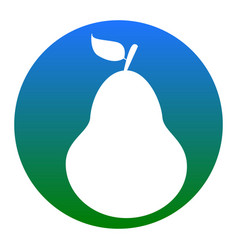 Pear sign white icon in vector