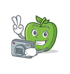 Photography green apple character cartoon vector