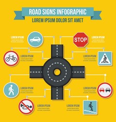 Road signs infographic concept flat style vector