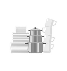 Set of dishes icon vector