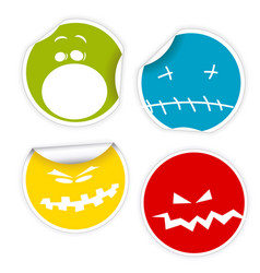 Set of halloween smiles labels vector