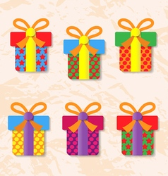 Set of icons of gift boxes on background vector image