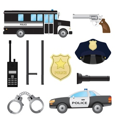 Set of police objects vector