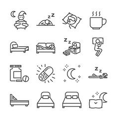 sleep line icon set vector image vector image