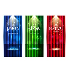 Theatrical background with a colors curtain and a vector