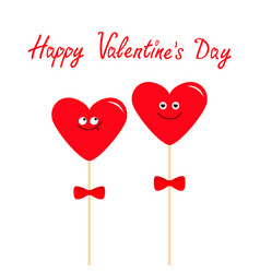 Two red hearts on sticks with bows cute cartoon vector