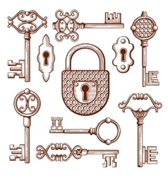 Vintage keys locks and padlocks hand drawn vector image