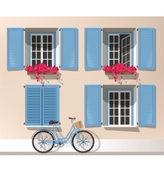 Windows and bicycle vector