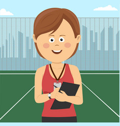 young female coach stands on school playground vector image