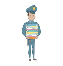 Young hispanic policeman holding pile of folders vector