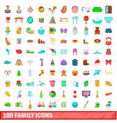 100 family icons set cartoon style vector